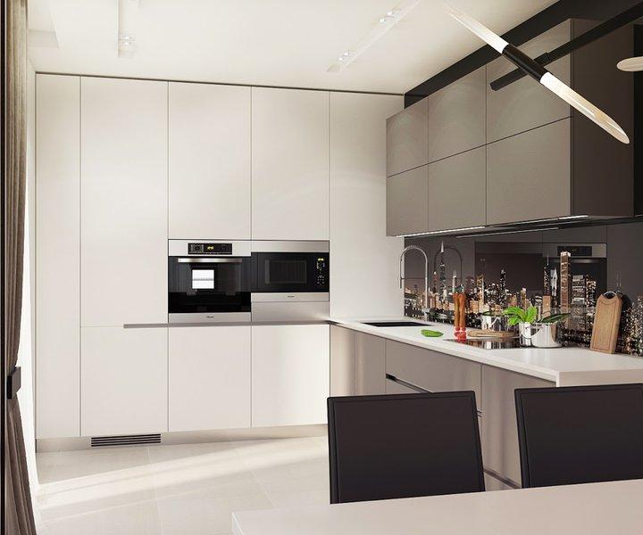 4-1-contemporary-style-interior-design-kitchen-set-black-and-white-sleek-push-to-open-cabinets-minimalistic-glass-photo-backsplash-New-York-city-view