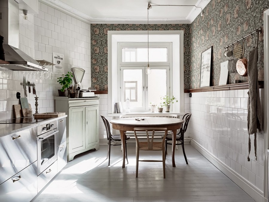 4-kitchen-wallpaper-wall-covering-ideas-in-interior-design-white-square-wall-tiles-floral-green-and-pink-pattern-motifs-glossy-cabinets-round-dining-table