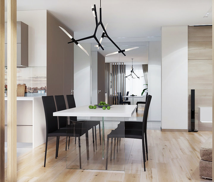 5-2-contemporary-style-interior-design-open-concept-dining-room-kitchen-interior-design-beige-floor-black-chairs-white-walls-table-with-glass-base-lamp