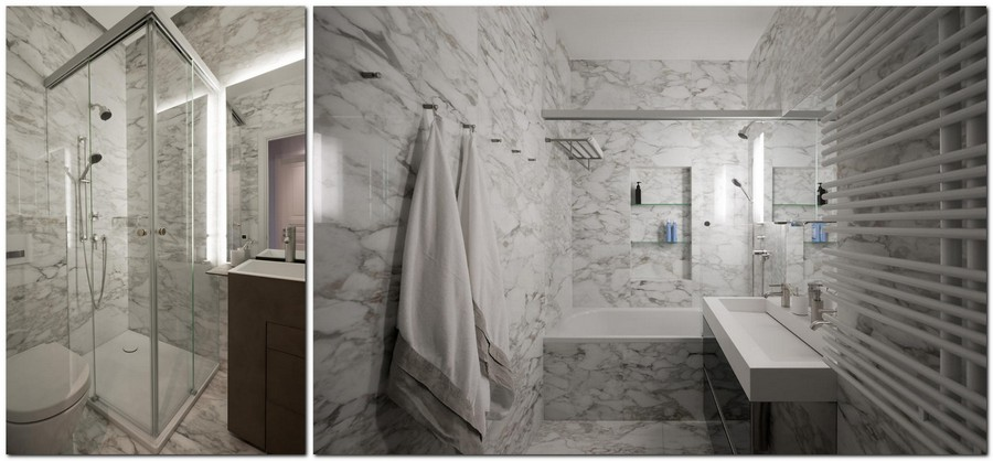5-American-style-interior-bathroom-marble-floor-walls-white-Calacatta-brown-wash-basin-cabinets