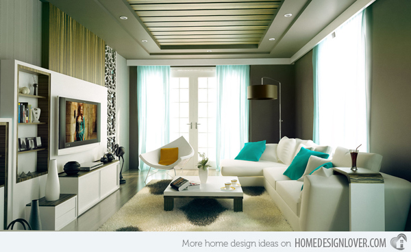 Charming Living Room. Turquoise Accents Part 17