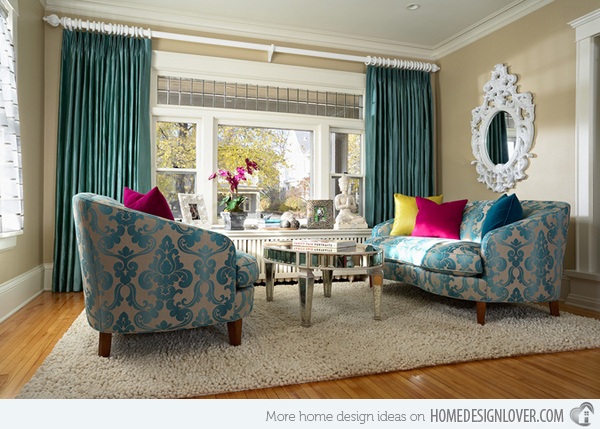 Living Room Ideas Turquoise open concept apartment livingdining space with coordinating sapphire layers of blue Turquoise Room Ideas
