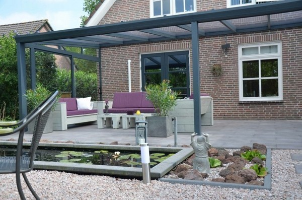 Canopy glass and wood garden furniture