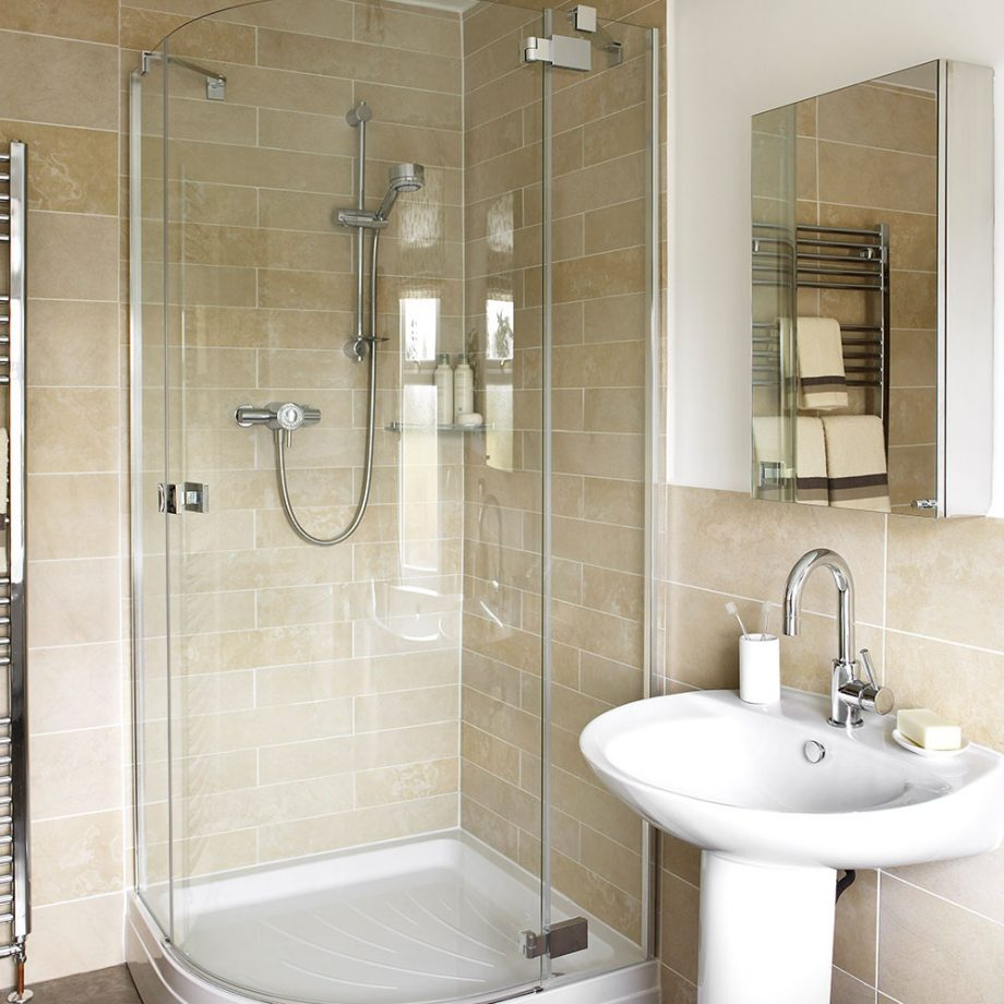 Opt for a corner shower enclosure