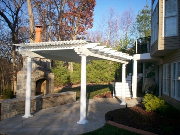 Freestanding canopy at the pool house