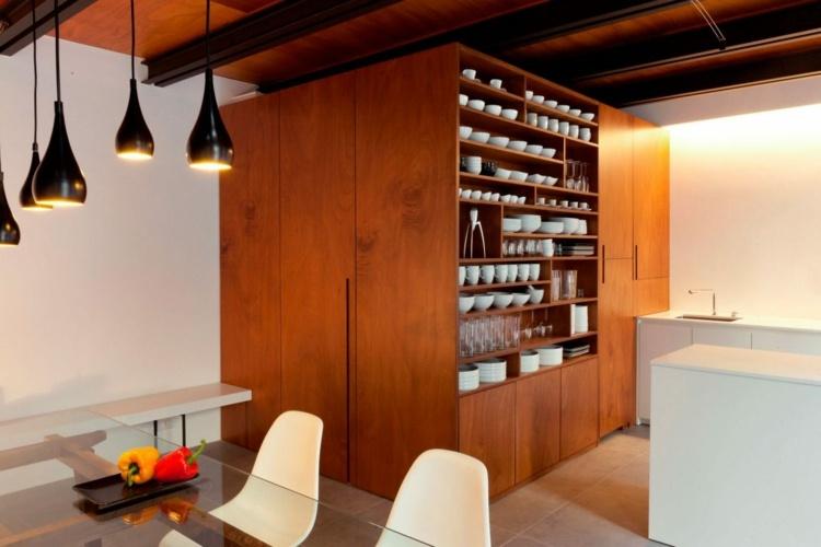 Large-format-minimalist-interiors-dining-area-glass-pendulights