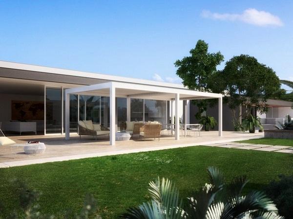 Sunscreen modern freestanding awning roof