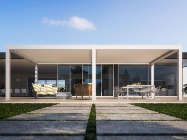 Sunscreen modern wooden Pergola patio roof awning