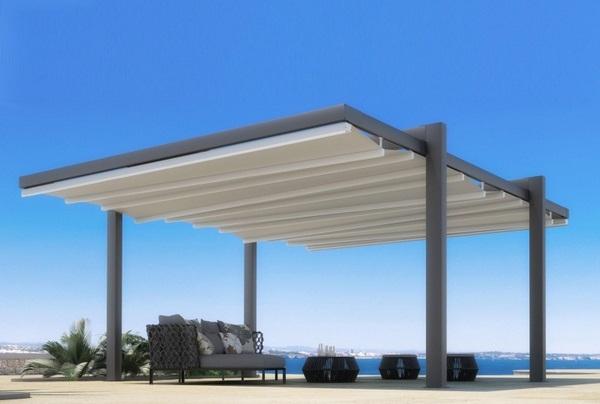 Sunscreen rollable roof of freestanding pergola aluminum material