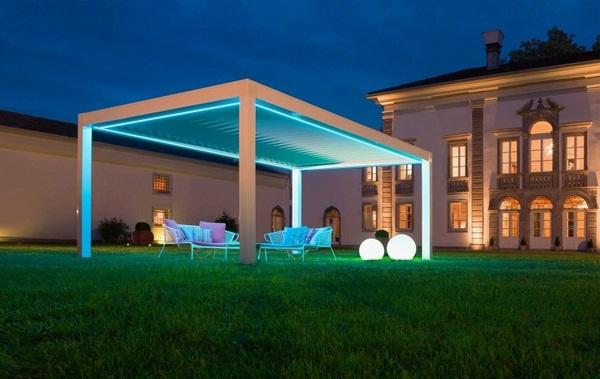 Sunscreen roof Pergola freestanding lighting LED