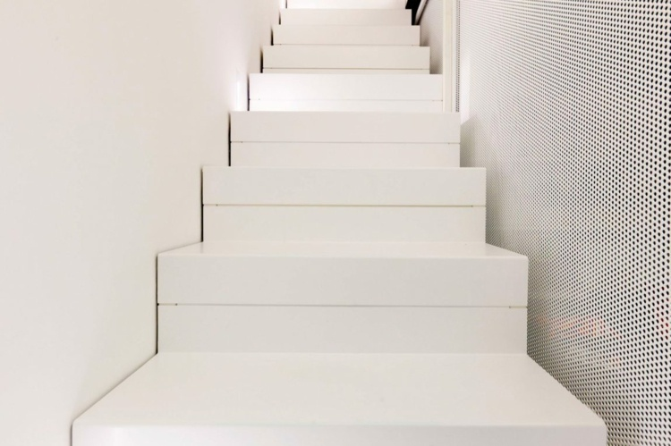 Tile-large-format-stair-white-minimalism-perforated-panel staircase