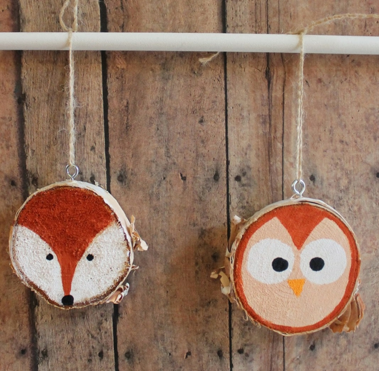 decoration with wood disks animals fox owl paint simply children