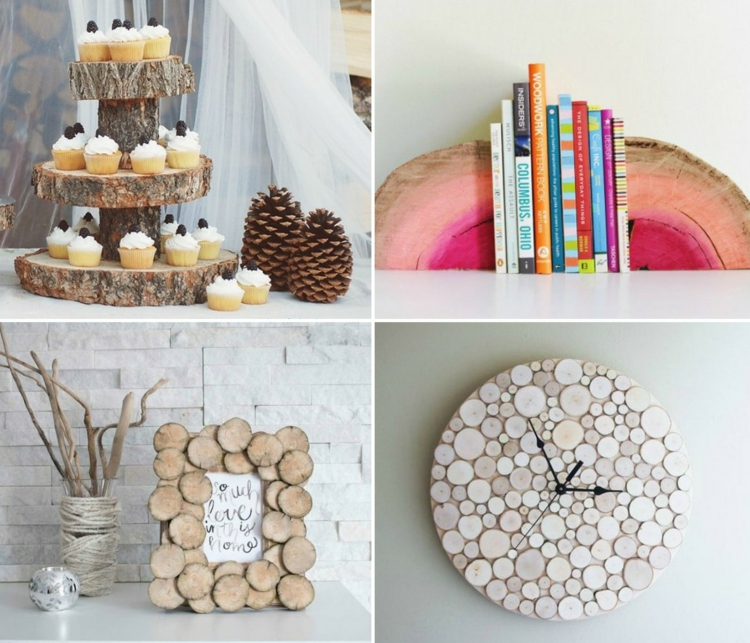 decoration wood disks dessert stands frame book-support clock