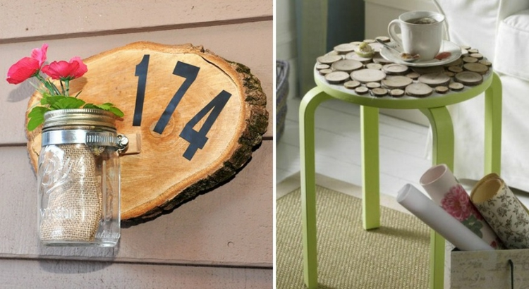 decoration wood disks house number idea vase stool recycling tray