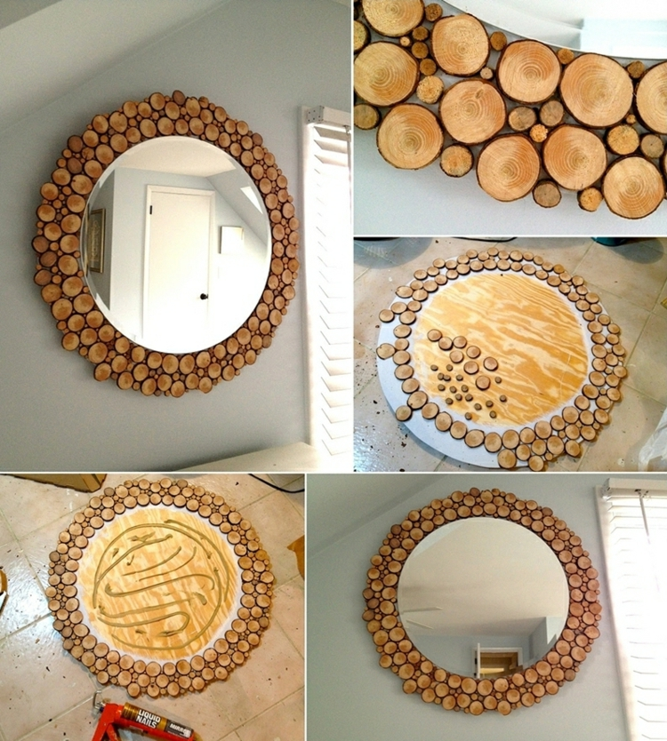 decoration wood disks mirror make instruction simple