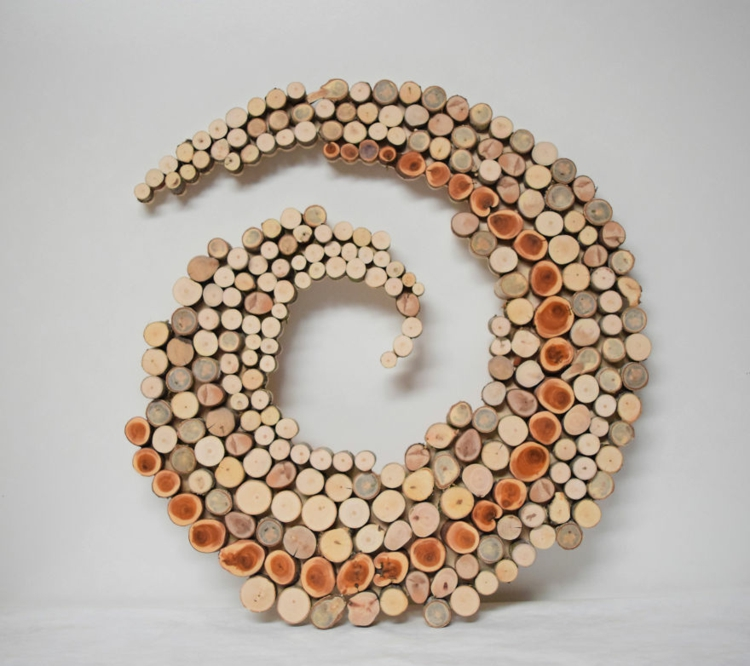 decoration wood disks sculpture tinker spiral form winding organization