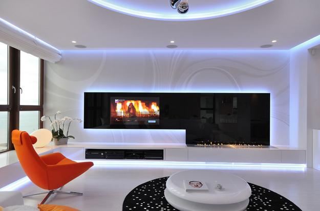 Exceptional Modern Living Room Design With Built In Wall Shelves And TV Part 27