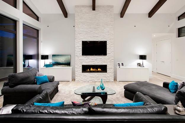 Fireplace Design With TV Modern Living Room And Decorating