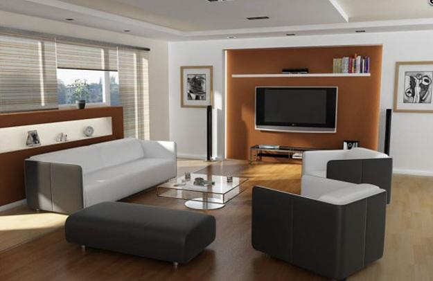 TV Panel On Orange Wall, Modern Living Room Design
