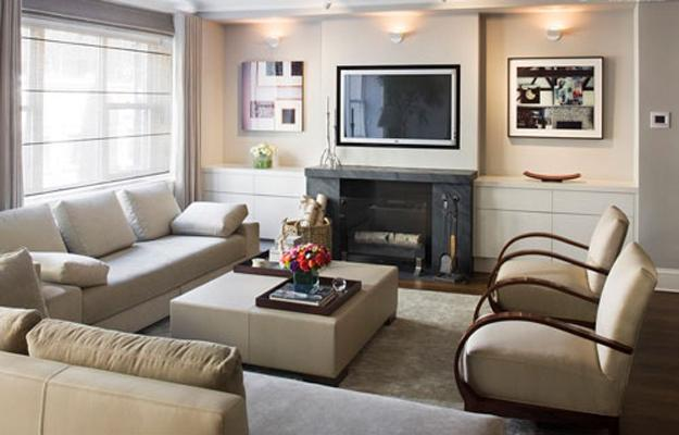 Modern Living Room Design With Built In Wall Shelves And TV Part 74