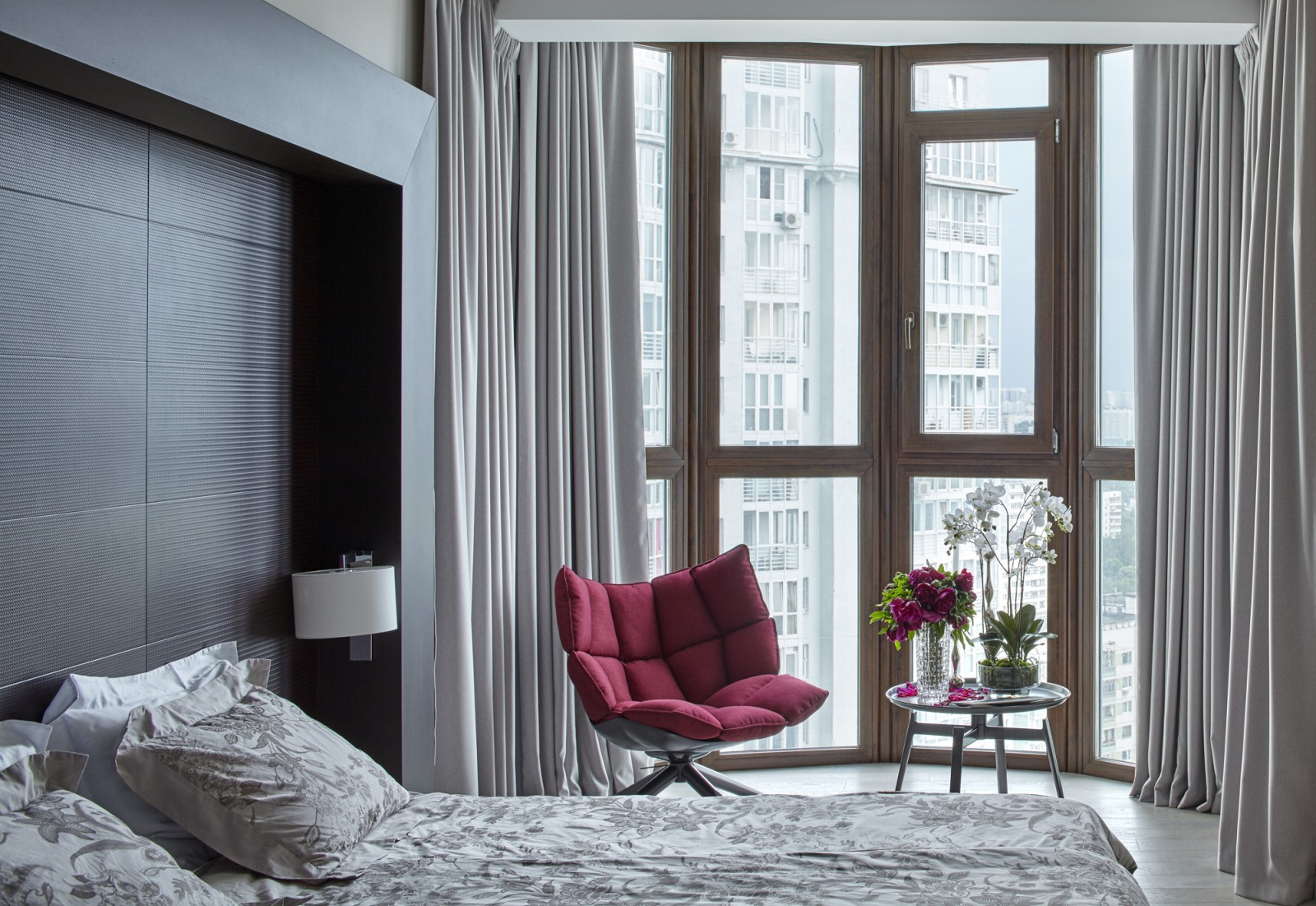 Bedroom with large windows from Alexandra Fedorova