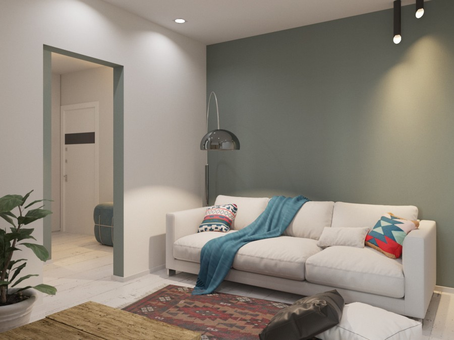 6-white-and-gray-walls-windowless-lounge-living-room-interior-design-couch-sofa-blue-blanket-floor-lamp-contemporary-style-track-lights-wooden-coffee-table-rug-white-floor