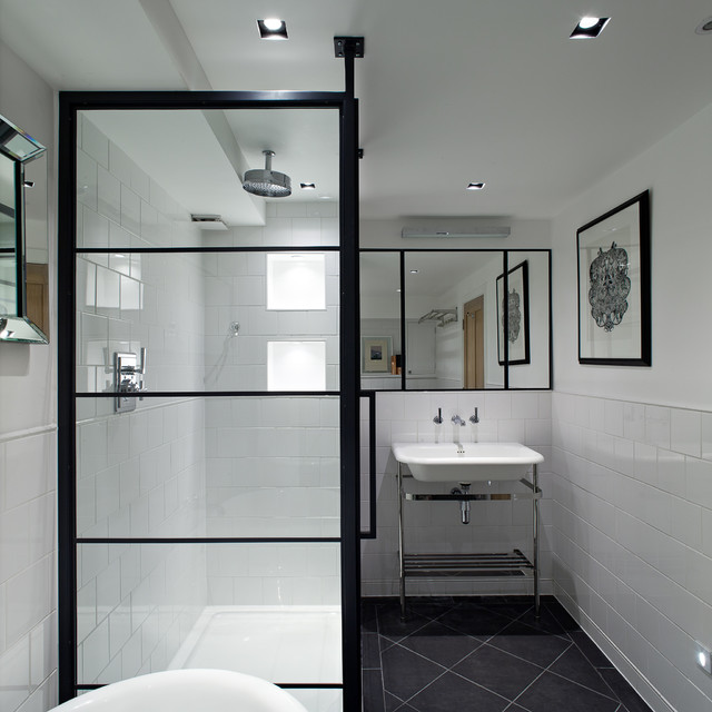 Contemporary bathroom with a black frame for shower