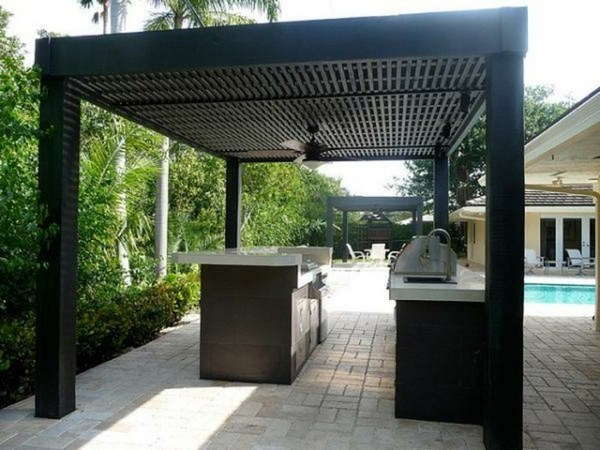 Garden pergola kitchen at pool