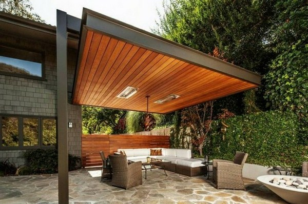 Garden pergola wood and metal frame