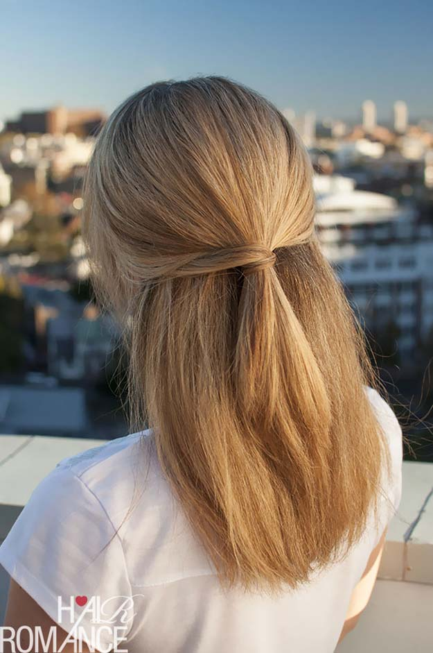 Cool and Easy DIY Hairstyles - Half Hairstyle - Quick and Easy Ideas for Back to School Styles for Medium, Short and Long Hair - Fun Tips and Best Step by Step Tutorials for Teens, Prom, Weddings, Special Occasions and Work. Up dos, Braids, Top Knots and Buns, Super Summer Looks http://diyprojectsforteens.com/diy-cool-easy-hairstyles