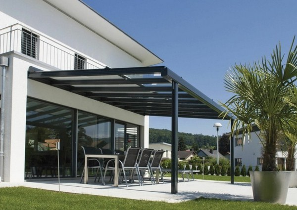 Modern pergola made of metal