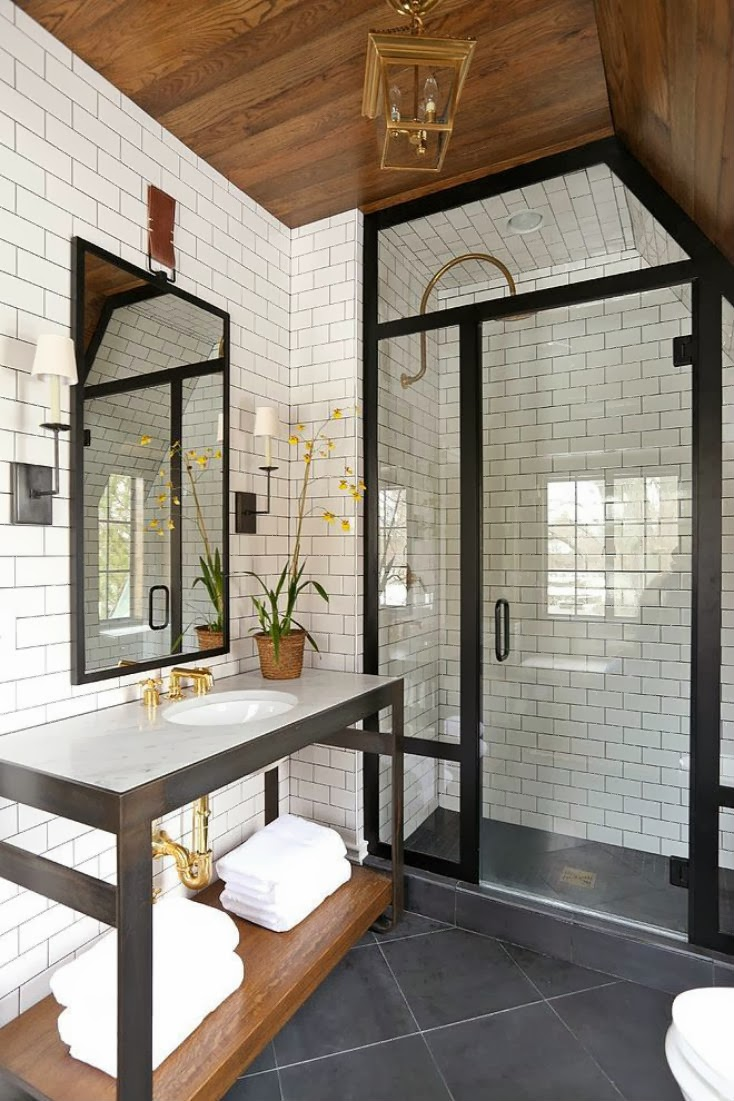 Subway tiles and black frame for window
