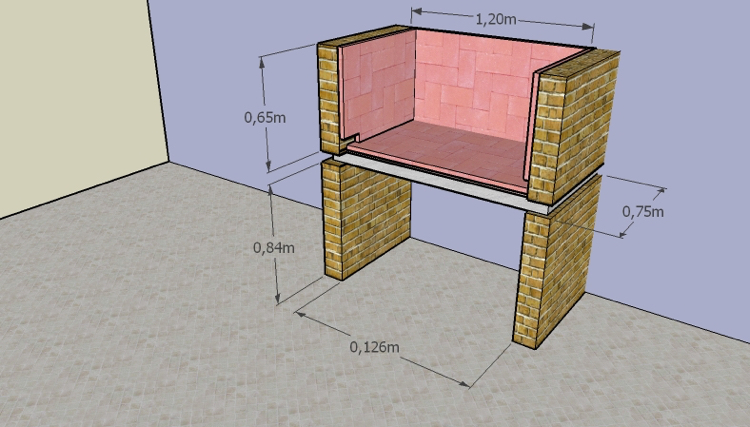 barbecue place garden build instruction structural drawing wet dimension