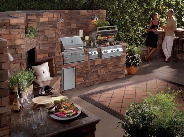 fancyly outdoor builds grill place garden kitchen natural stone
