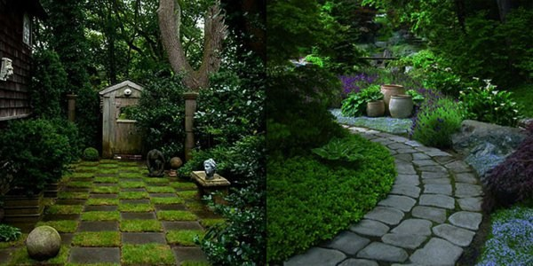 interesting footpaths in beautiful garden