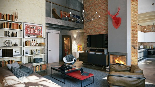 interior decoration ideas interior designers home ideas loft style brick drywall steel and wood