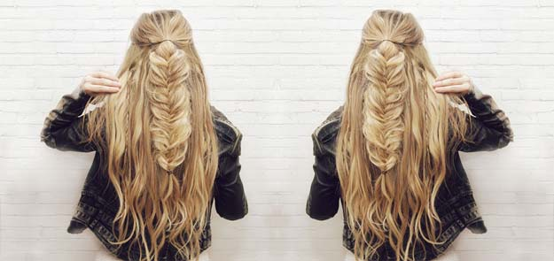 Cool and Easy DIY Hairstyles - Half-up Fishtail Braid Hair - Quick and Easy Ideas for Back to School Styles for Medium, Short and Long Hair - Fun Tips and Best Step by Step Tutorials for Teens, Prom, Weddings, Special Occasions and Work. Up dos, Braids, Top Knots and Buns, Super Summer Looks http://diyprojectsforteens.com/diy-cool-easy-hairstyles