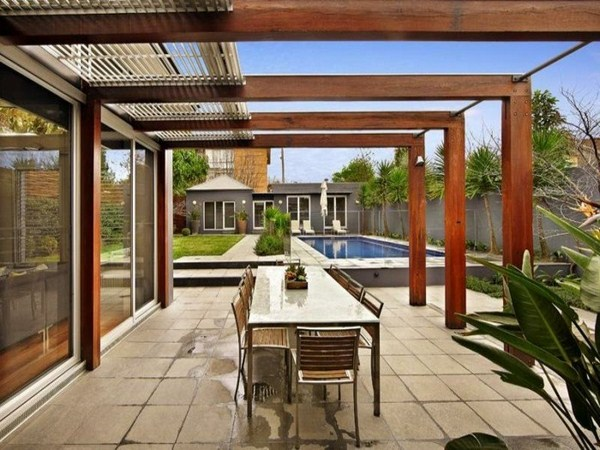modern pergola at garden holzdesign
