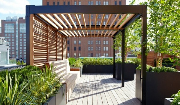 modern wooden pergola for terrace