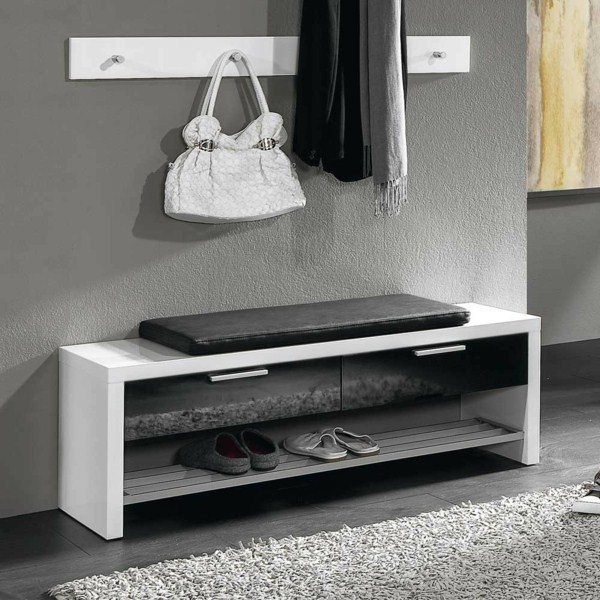 shoe bench Alamagan in black high gloss