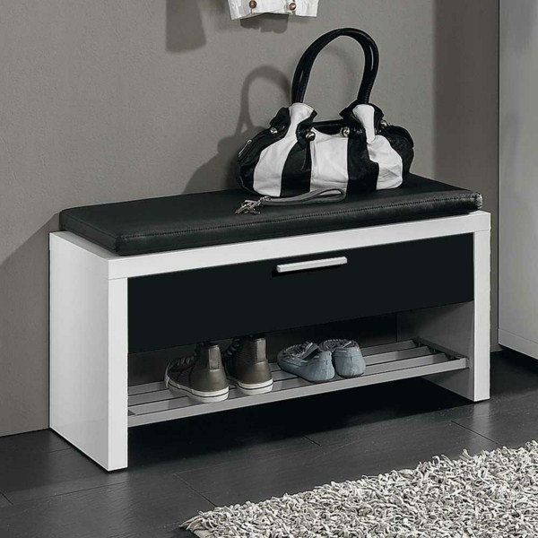 shoe bench in black high gloss
