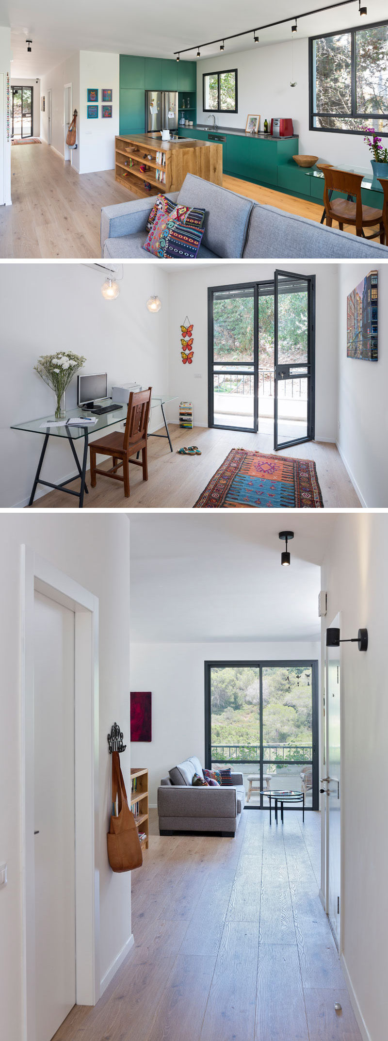 Upon entering this small and modern apartment, the wide hallway allows for a small home office space by the black framed, glass front door. Walking down the hallway a balcony door is visible in the living area, leading to more outside space.