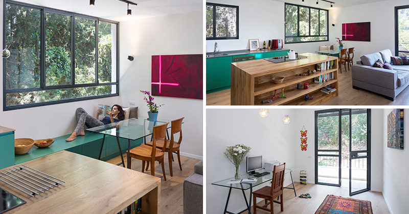 Architect Tal Losica, has designed a small contemporary apartment in Haifa, Israel, that features a bold green kitchen and an open living/dining room.