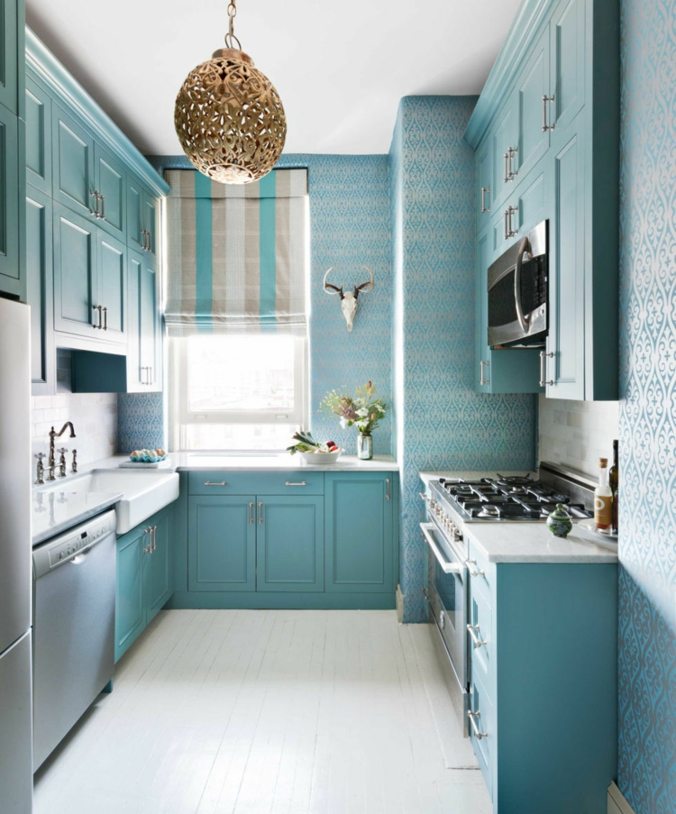 small kitchen country house style light blue pastel ink winding organization wallpaper