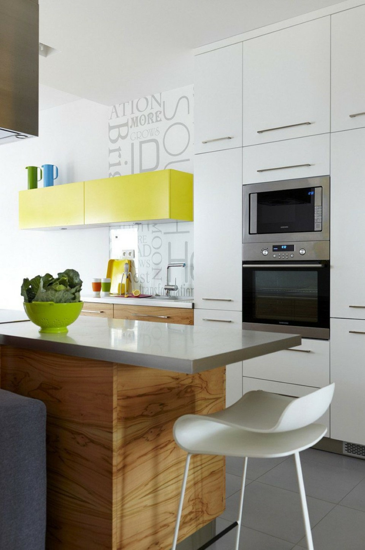 small kitchen four colors wood knows yellow accent grey plate built-in cabinet
