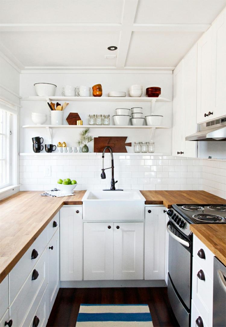 small kitchen shelves combining laminate darkly
