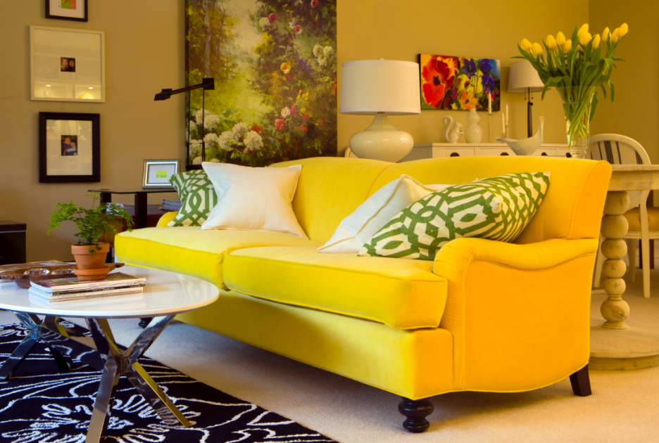 Yellow sofa a sunshine piece for your living area for Channel 10 living room catch up