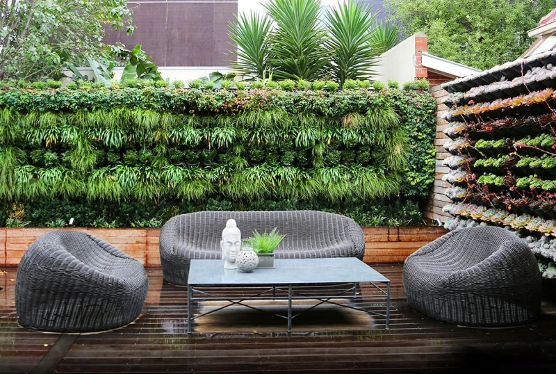 Seatings-in Garden modern rattan wood fence greening