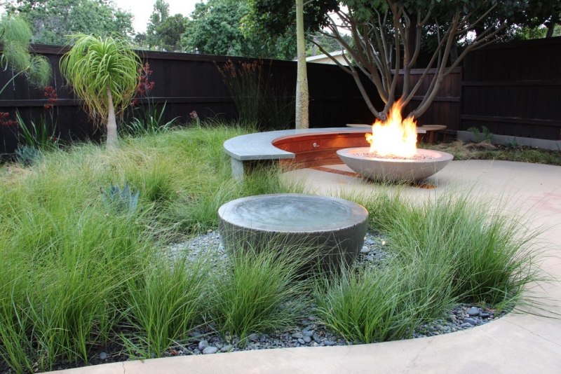 Seatings-in-garden modern garden bench-concrete fire bowl
