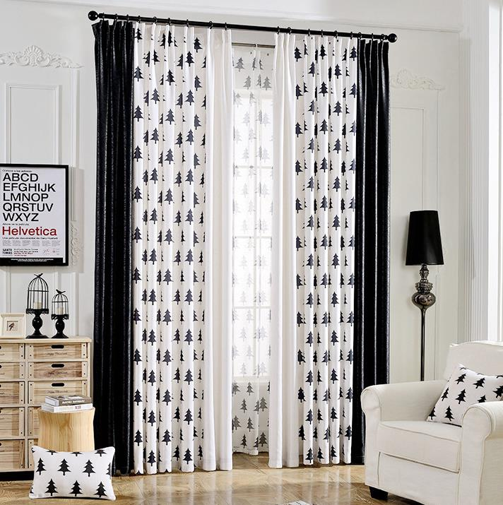 Black And White Tree Print Curtains